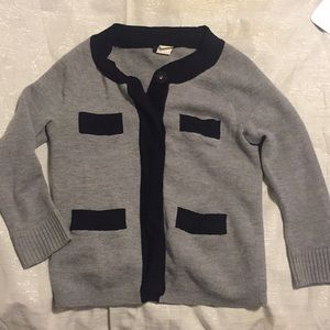 100% Merino Wool Grey J.Crew Cardigan w/pockets
